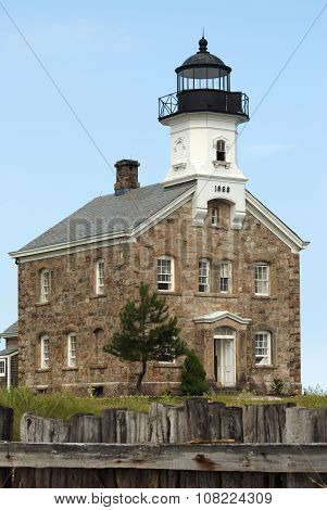 Sheffield Island Lighthouse Made of Stone In Norwalk Connecticut