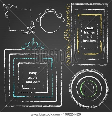 Set Of Vector Grungy Chalk Frames, Decor And Art Brushes.