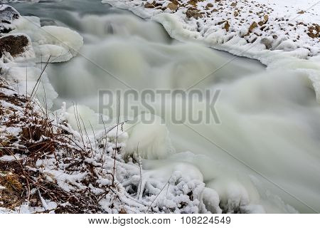 River Stones Snow Ice Rapid