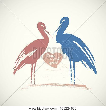 Symbolic image of a bird - a stork or crane. Drawn by hand, converted in vector illustration.