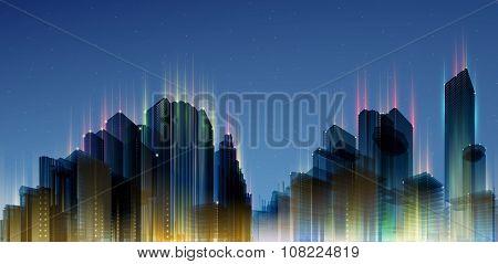 City Skylines. Blue night background. Panorama width.