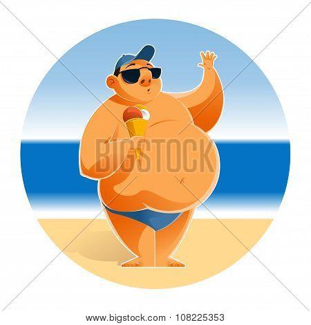 Big man on the beach