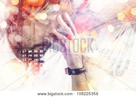 Double Exposure Portrait Of Worried Male Architect