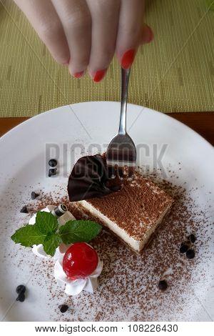 Eating Tiramisu Cake