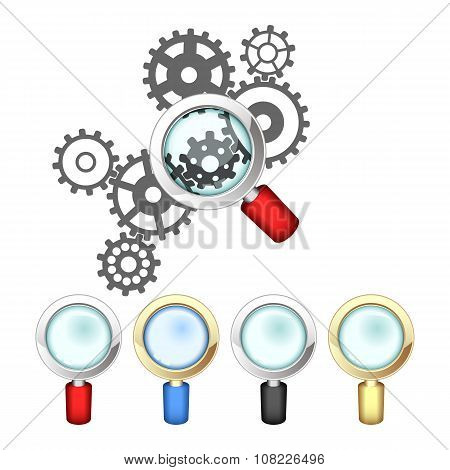 Set Of Magnifying Glasses And Mechanism