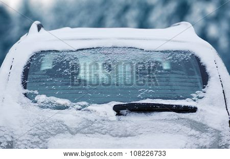 Winter Frozen Back Car Window, Texture Freezing Ice Glass Background