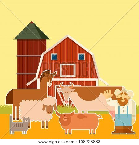 Farm banner with flat animals