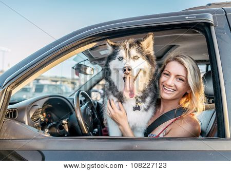 Dog And Woman In A Car