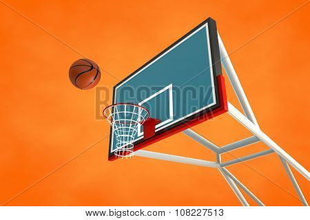 3d illustration of a basketball hoop and ball