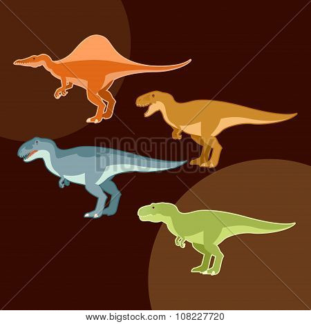 Set of carnivores dinosaurs
