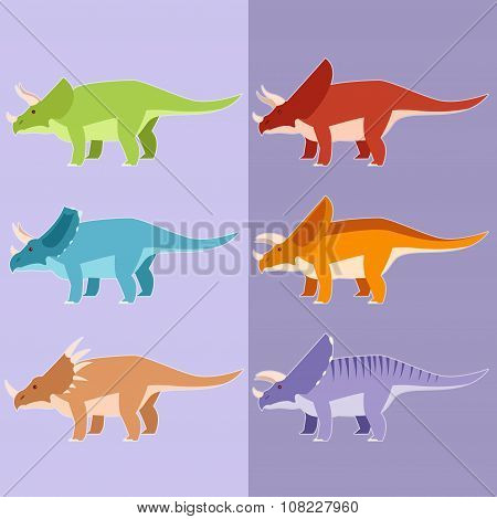 Set of horned dinosaurs