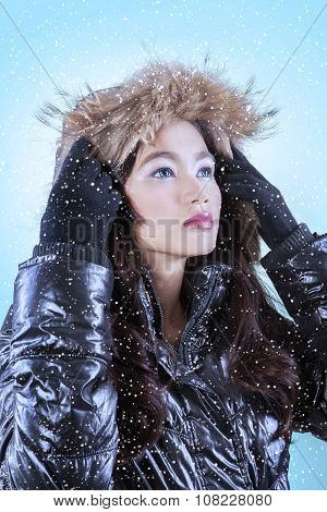 Girl In Winter Jacket Stare Copyspace
