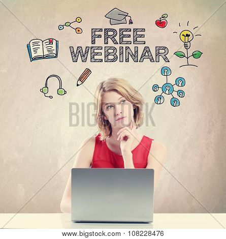 Free Webinar Concept With Woman Working On Laptop