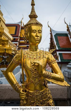 Ancient Statues In Temple Of Bangkok,thailand