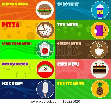 Fast Food Icons On Color Background. Vector Illustration.