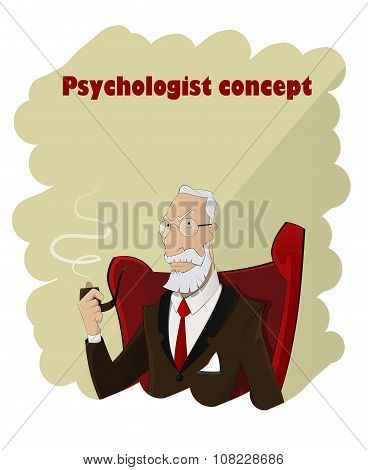 Portrait Of Practiced Profesional Elderly Cartoon Psychologist