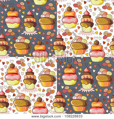 Pattern Of Sweet Cupcakes. Seamless Vector Illustration.