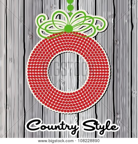 Wreath over planks - country style