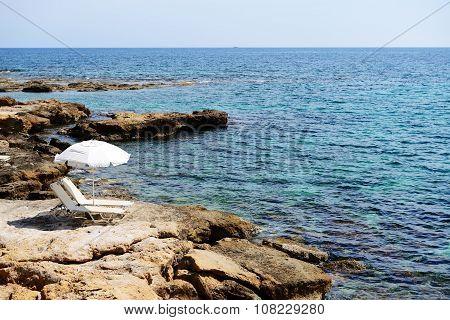 The Sunbeds On A Beach At Luxury Hotel, Crete, Greece
