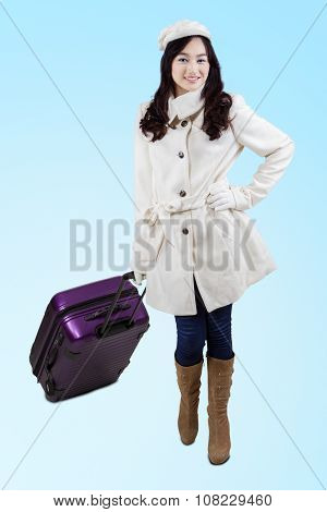 Gorgeous Girl In A Winter Coat Carry Suitcase