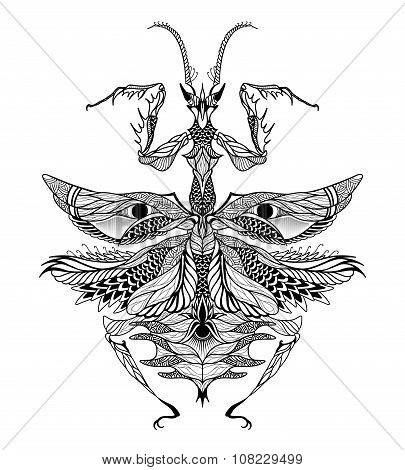 Mantis tattoo. psychedelic, zentangle style. vector illustration