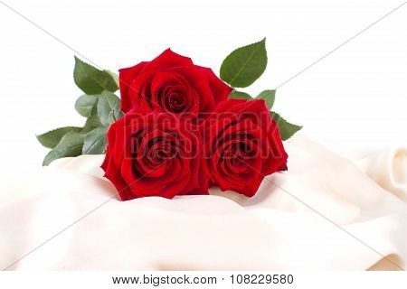 Beautiful Red Roses On A Yellow Silk