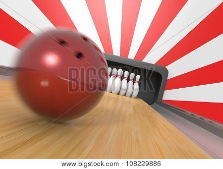 Bowling Ball And Pins Closeup