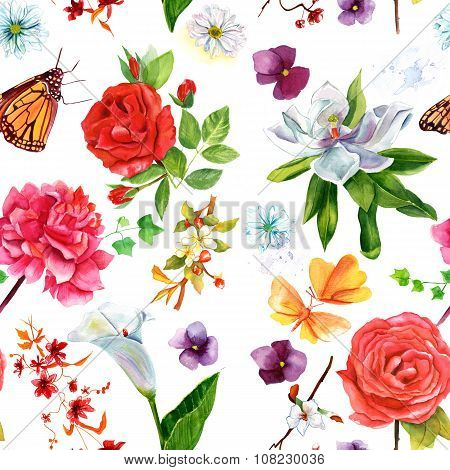 Retro styled seamless background pattern with flowers and butterflies
