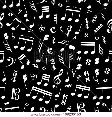 A lot of music signs and note on black background pattern