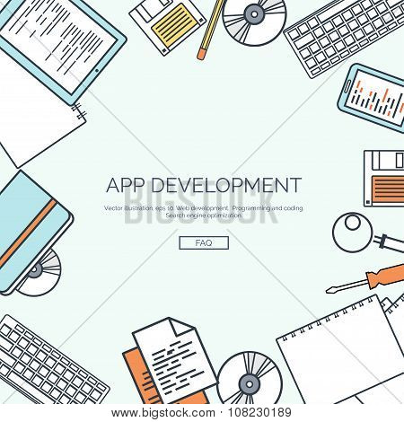 Vector illustration, lined. Flat computing background. Programming ,coding. Web development and sear