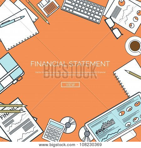 Vector illustration, lined. Financial statement and daily report. Money making. Market news. Currenc