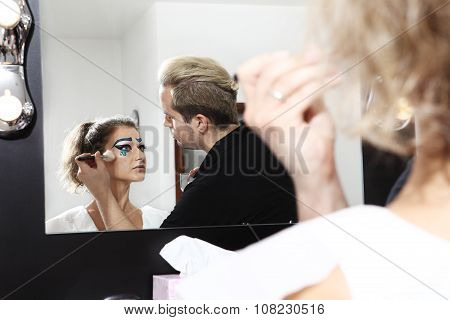 Makeup Artist With Powder Brush, Blushing Face Of Model