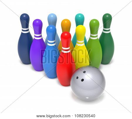 Rainbow Color Bowling Pin