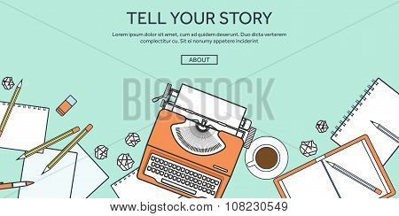 Vector illustration, lined. Flat typewriter. Tell your story. Blogging.