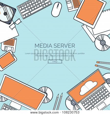 Vector illustration, lined.  Flat cloud computing background. Data storage network technology. Multi