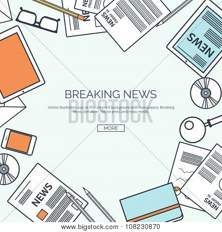 Vector illustration, lined.  Flat header. Newsletter, information. Business,online market news.