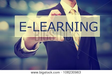 Business Man Holding E-learning