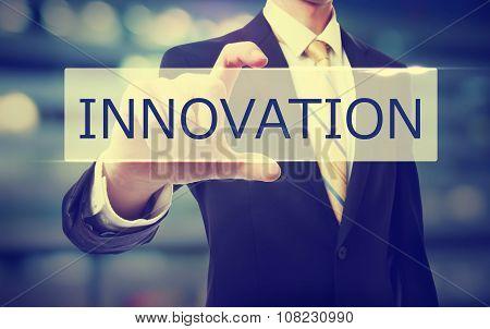 Business Man Holding Innovation