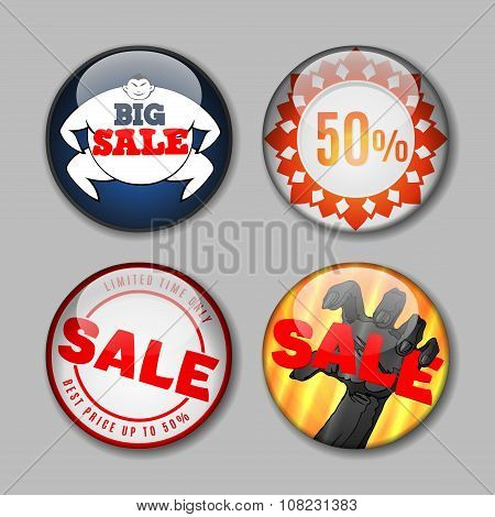 Sale Buttons with discount. Design elements