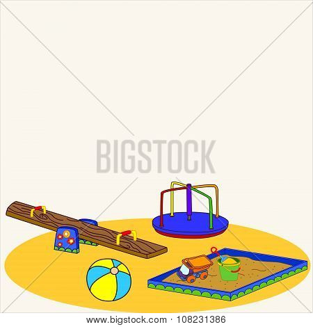 Fun playground. Cartoon vector Illustration of playground equipment