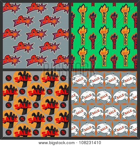 Set of Sale seamless patterns