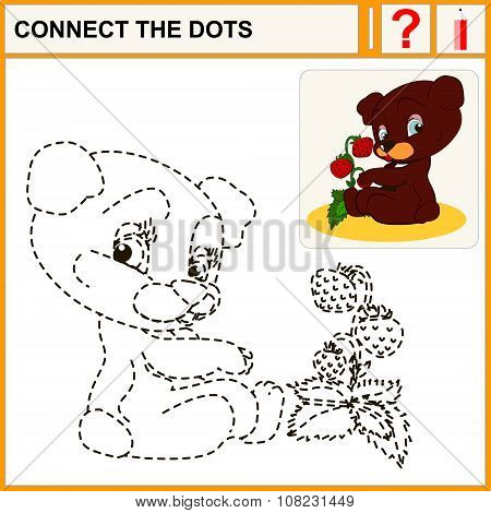 Connect the dots preschool exercise task for kids cheerful Bear and strawberry