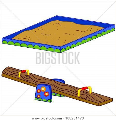 Fun playground. Cartoon vector Illustration of playground equipment. Isolated.