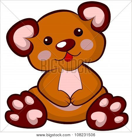 Vector isolated illustration cute cartoon of funny plush bear toy