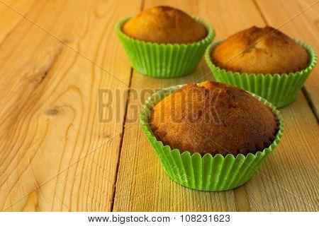 Three Muffins In Green