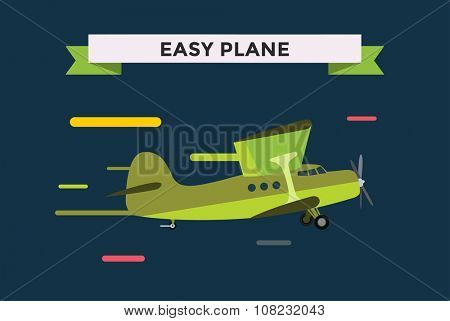 Civil aviation travel small easy passenger air plane vector illustration. Civil commercial small private airplane flying vector silhouette. Travel plane isolated on background. Cargo transportation