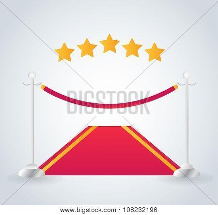 VIP zone red carpet vector illustration. Event enter with star. Success, theater, luxury, VIP. Vector Red Carpet isolated on white background. Red carpet vector movie cinema stars. Museum place, red
