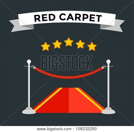 VIP zone red carpet vector illustration. Event enter with star. Success, theater, luxury, VIP. Vector Red Carpet isolated on black background. Red carpet vector movie cinema stars. Museum place, red