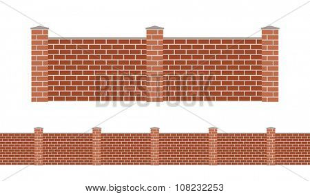 Stone bricks fence isolated on white background. Garden stone fences vector illustration. Fences railing vector isolated. Stone bricks fence, long fence, vector fence. Stone fence silhouette
