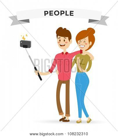 Selfie family couple portreit vector illustration. Selfie shot man, woman together Vector selfie people set. Selfie vector concept modern family couple with selfie photo camera. Togetherness concept